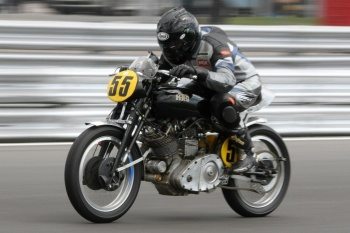 Down the Senna straight at Snetterton on the Vincent Comet