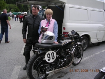 The power behind the throne. Tim's wife Ange : At the Grossglockner hill climb Austria :1400 miles for 20 minutes riding-well worth it!
